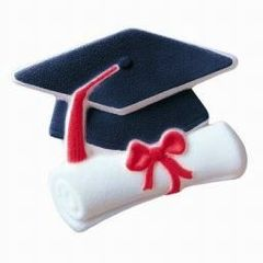 Cap & Scroll Graduation Sugar Decorations 1 Piece
