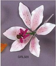 Rubrum Lily 3 inch With Wire Edible Gumpaste Flower 2 Pieces