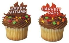 Happy Autumn Harvest Days Cupcake Picks 12 Piece