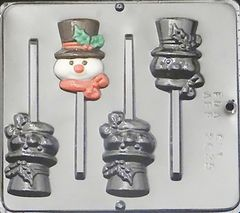 Snowman Frosty 3 Cavity Lollipop Chocolate Craft Candy Mold