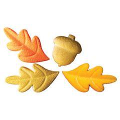 Acorn & Oak Leaves Assorted Edible Shimmer Sugar Decorations 8 Piece