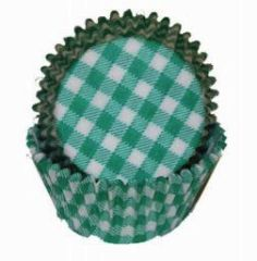 Green Gingham Mini Muffin Baking Cups 80-100 Piece