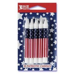 Patriotic USA Flag Candles 10 Count