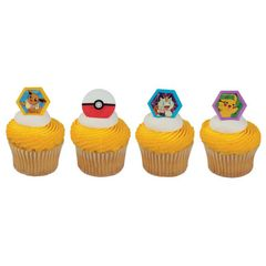 Pokemon Cupcake Rings Novelty Decoration 12 Piece