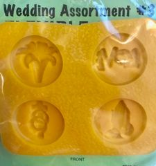 Wedding Assortment Flowers, Love, Cross w/Rings, Praying Hands Mint Candy Mold