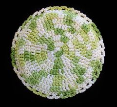 100% Cotton Hand Crocheted Round Pot Holder Hot Pad Doily Trivet Color: KEY LIME