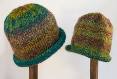 Child Adult Hat Rolled Brim Beanie Color: RAINFOREST