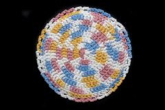 100% Cotton Hand Crocheted Round Pot Holder Hot Pad Doily Trivet Color: KITCHEN BREEZE