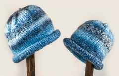 Child Adult Hat Rolled Brim Beanie Color: DENIMS