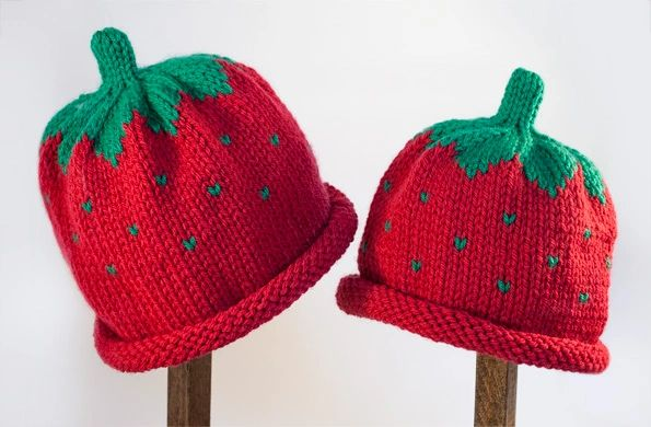 Child Adult Hat Rolled Brim Beanie Color  STRAWBERRY  b446bd48003