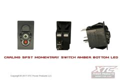 Momentary Switch with Bottom Amber LED, SPST (ON) - OFF, No Rocker/Actuator
