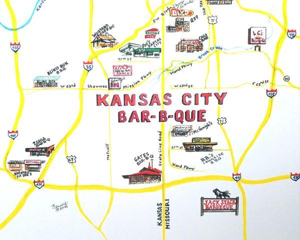 Kansas City Bar-B-Que Map | Art From Architecture