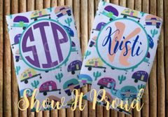 Personalized Camper and Cactus Pattern Can Coozies