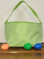 Lime Pin Stripe Easter Bucket Tote