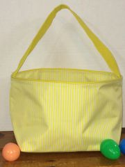 Yellow Pin Stripe Easter Bucket Tote