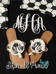 Monogrammed Sandals- Baseball, Football, Soccer, and Softball
