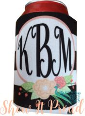 Monogrammed Black/White Stripe Can Insulator