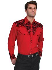 Legends Tooled Floral Embroidered Shirt - Red