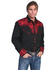 Legends Tooled Floral Embroidered Shirt - Crimson