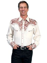 Legends Tooled Floral Embroidered Shirt - Natural