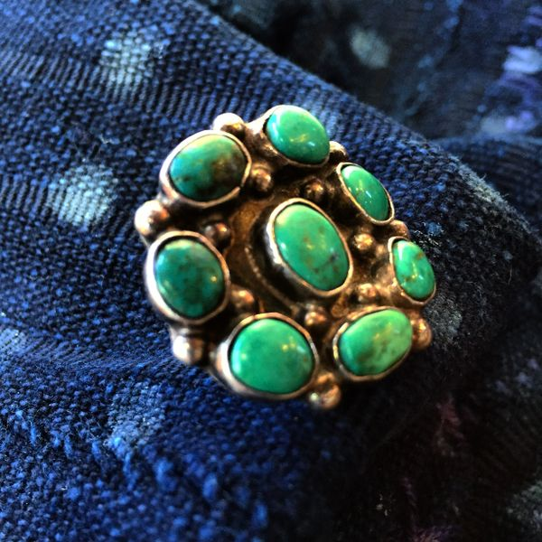 SOLD 1970s BLUE GREEN 8 TURQUOISE STONE SILVER PINKY RING