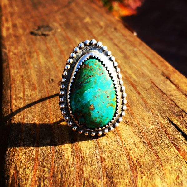 SOLD 1910s TEAR DROP BLUE GREEN PERSIAN TURQUOISE SILVER RING