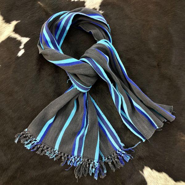 1800s HALF FRINGED VIVID TURQUOISE BLUE, INDIGO & BLACK KOBA TRIBE IN AFRICA SCARF