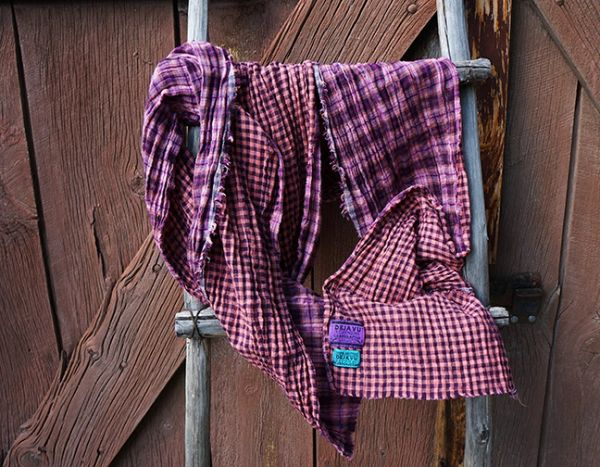PINK BLACK AND PURPLE HOMESPUN DIFFERENT SIDED PLAID AND GINGHAM COTTON GAUZE LONG SCARF