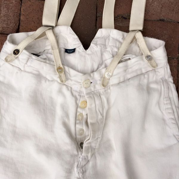 SOLD VINTAGE RALPH LAUREN 100% LINEN IVORY BACKBUCKLE SUSPENDERS BORO SHASHIKO PANTS WITH 100 YEAR OLD BUTTONS #1