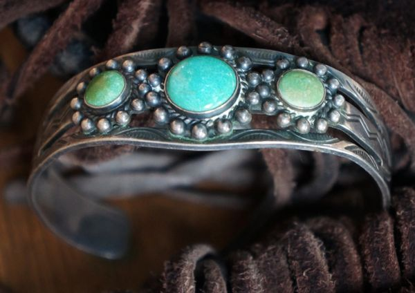 SOLD 1940's ROYSTON TURQUOISE & SILVER STAMPED CUFF