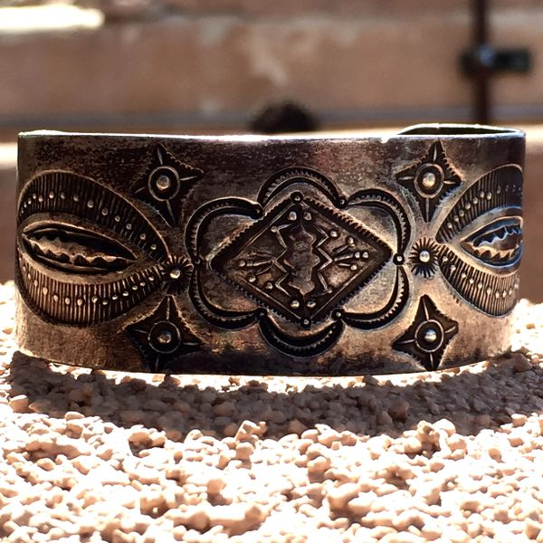 SOLD 1930s THICK STAMPED SILVER WHIRLING LOGS CUFF