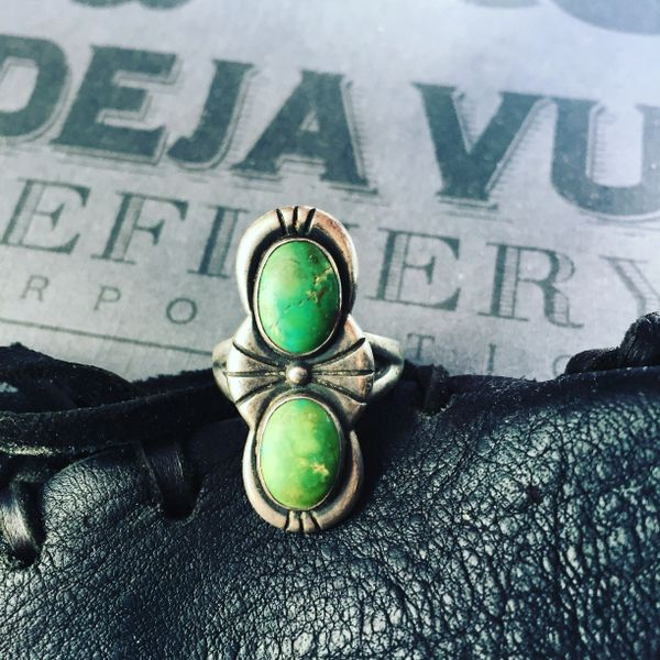 SOLD 1920s or 1930s ART DECO CERILLOS TURQUOISE RING