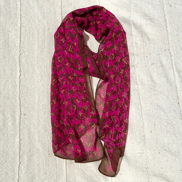 LOUIS VUITTON STEPHEN SPROUSSE MONOGRAM PINK BROWN SHEER SHAWL STOLE SCARF UNKNOWN AUTHENTICITY