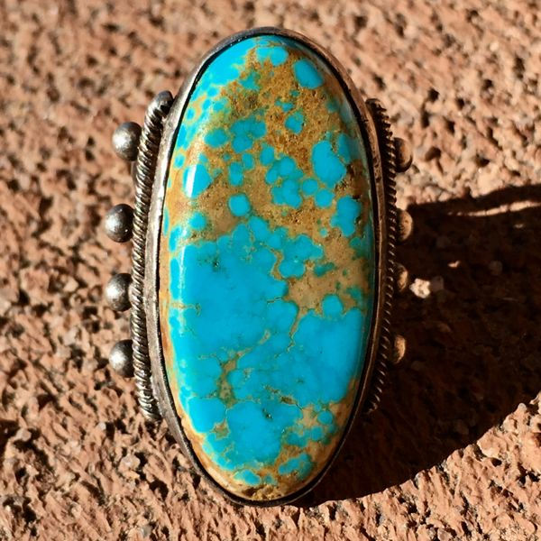 SOLD 1920s BIG LONG VIVID BLUE TURQUOISE SILVER RING