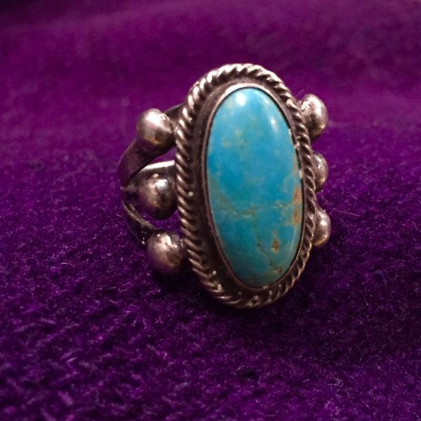 SOLD 1920s LIGHT BLUE TURQUOISE INGOT SILVER SMALL RING