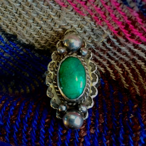 SOLD 1930s SOLD ELEGANT SILVER DOMES & GREEN TURQUOISE FRED HARVERY STAMPED RING