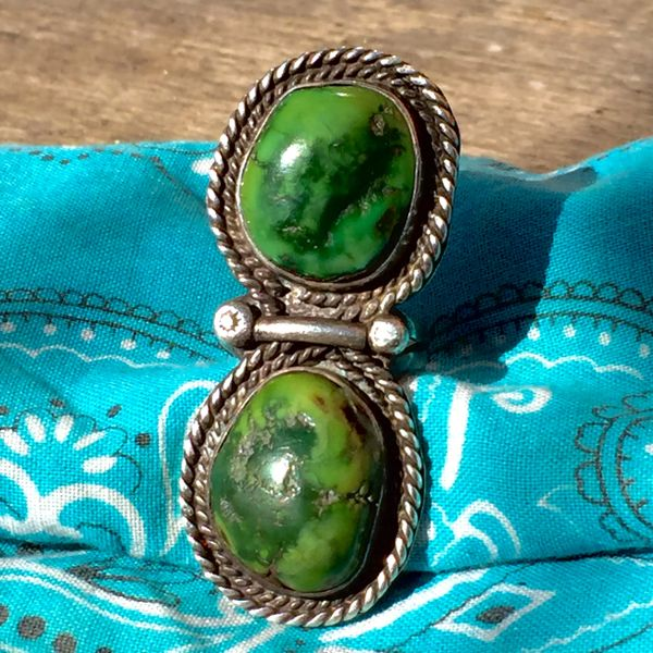 SOLD 1970s GIANT FINGER LONG GREEN TURQUOISE SILVER 2 STONE SILVER RING