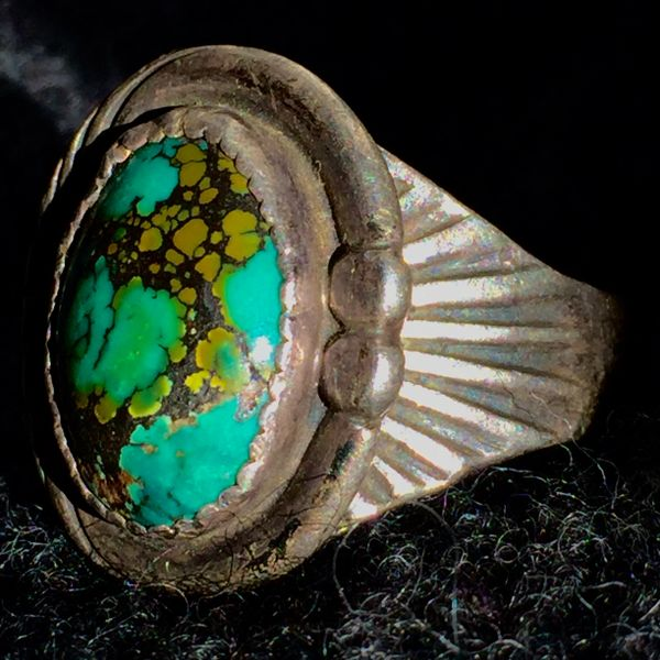 SOLD 1940s SIGNED ROE JAQUE SILVER & ROYSTON TURQUOISE RING