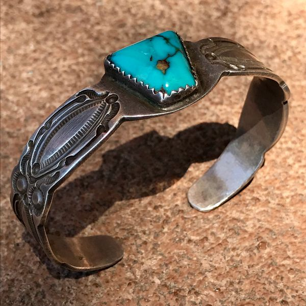 SOLD 1930s INGOT SILVER AND GEM QUALITY BLUE SHIELD SHAPED TURQUOISE STONE CUFF BRACELET