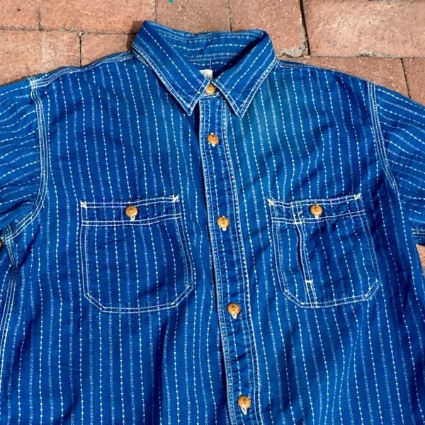 SOLD JAPANESE SUN FADED VINTAGE REPRODUCTION INDIGO CALICO WORKSHIRT DISCHARGE PRINT JOURNAL STANDARD BRAND