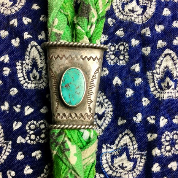 SOLD 1920s LITTLE BOY'S BOLO TIE ON GREEN VINTAGE BRAIDED BANDANNA