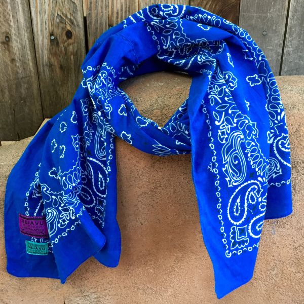 COBALT BLUE BANDANNA SCARF 100% COTTON & SUN FADED ON ONE SIDE
