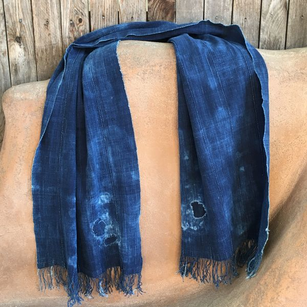 FRINGED ANTIQUE FADED DARK INDIGO LONG PATCHED SCARF #1