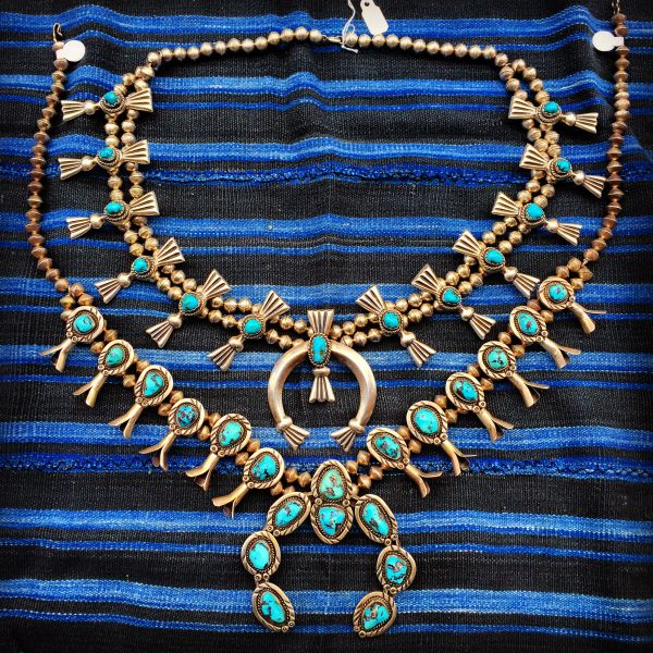SOLD 1970s SANDCAST BOX & BOW SILVER TURQUOISE SQUASH BLOSSOM NWCKLACE