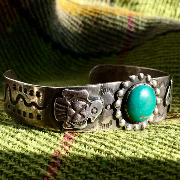 1920s SOLD THUNDERBIRDS & ROUND GREEN TURQUOISE CUFF SILVER BRACELET WITH SNAKES & CACTUS