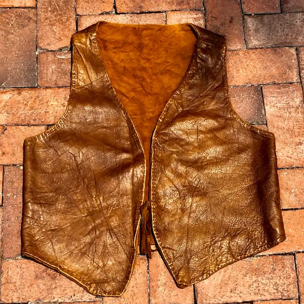 1920s HANDMADE HANDSEWN LEATHER COTTON MOLESKINE LINED NATIVE AMERICAN RESERVATION VEST