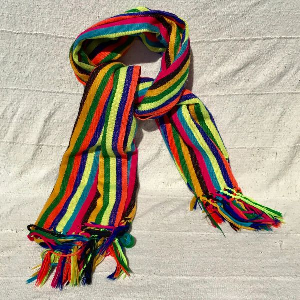 VINTAGE NEON FRINGED STRIPED RAINBOW WIDE SYNTHETIC MATERIAL WOVEN SCARF OR TABLE RUNNER