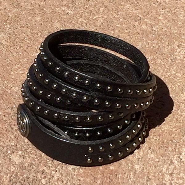 BLACK LEATHER 4 STRAP TINY METAL STUDDED BRACELET CUFF