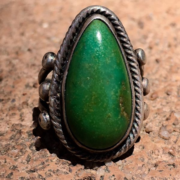 SOLD 1920s RAINDROP SHAPED DARK GREEN TURQUOISE ARROW STAMPED SILVER PINKY RING