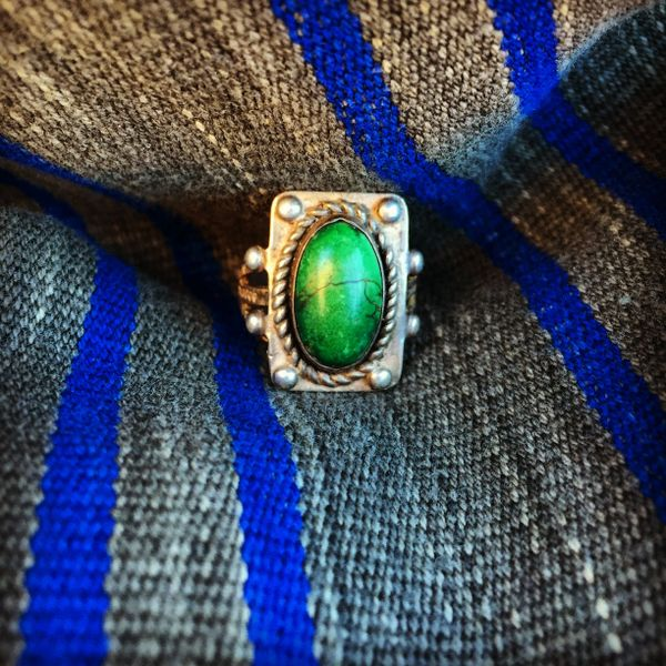 1910s STAMPED FRED HARVEY TURQUOISE SILVER RING